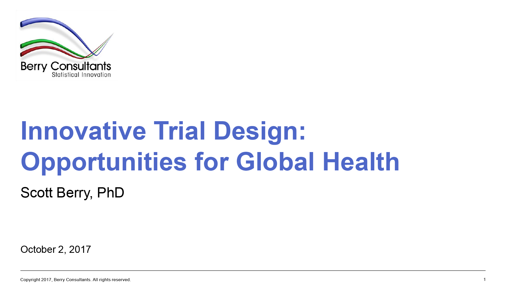 Innovative Trial Design Global Health Presentation Cover